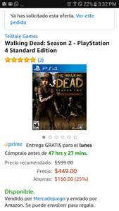 Amazon: the walking dead season two para ps4 y xbox one 396 oferta relámpago (vendido por un tercero)
