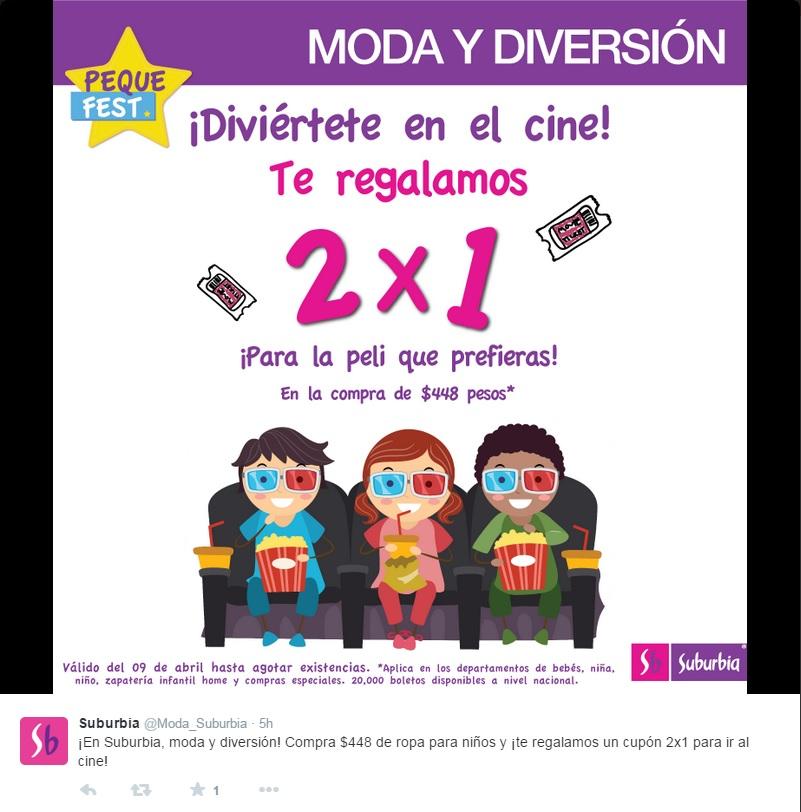 Suburbia: Compra 448 pesos en ropa infantil y te regalan un cupón de 2x1 para el cine.