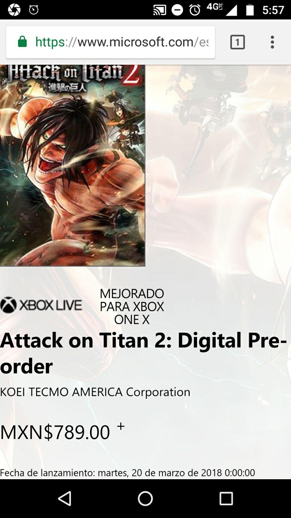 Microsoft Store: Attack on Titan 2 Digital Preorder - Xbox One