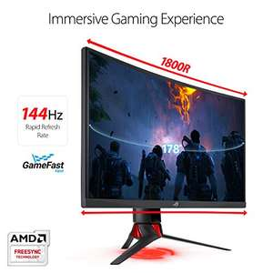 "Amazon: Monitor ASUS Strix Gaming 27"", Curved Full HD, 1080p, 144Hz, Display Port, HDMI, DVI, Eye Care"