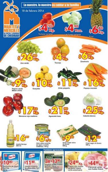 Ofertas de frutas y verduras en Chedraui febrero 18 y 19: tomate $4.50 el kilo y más
