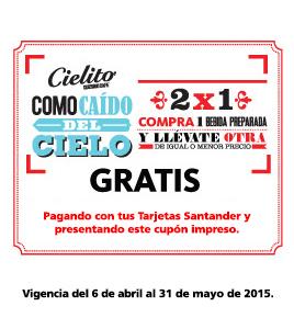 2X1 en Bebidas Cielito Querido Café con Santander y Cupón