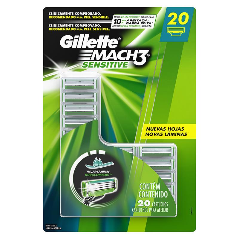 Costco: ¡20 piezas! cartuchos Gillete Mach 3 Sensitive (20.95 por pieza)
