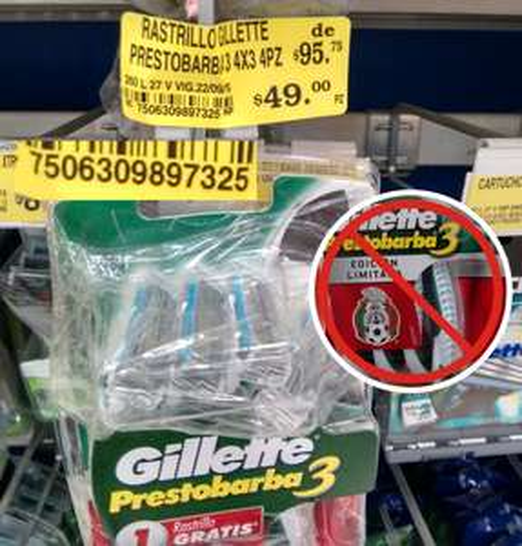 Soriana: Gillete Prestobarba 3 - selección mexicana $49
