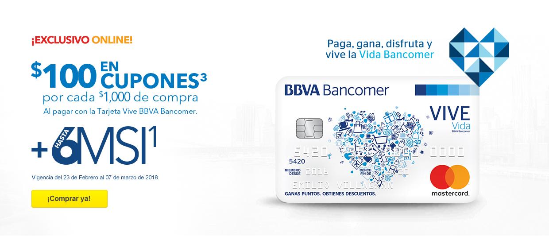 Best Buy: $100 pesos en cupones por cada $1,000 pesos de compra al pagar con Vive BBVA Bancomer