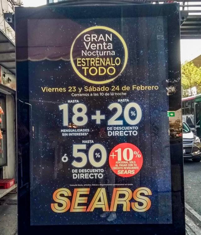 Sears: Venta Nocturna 18MSi y hasta 20% de descuento en departamentos participantes