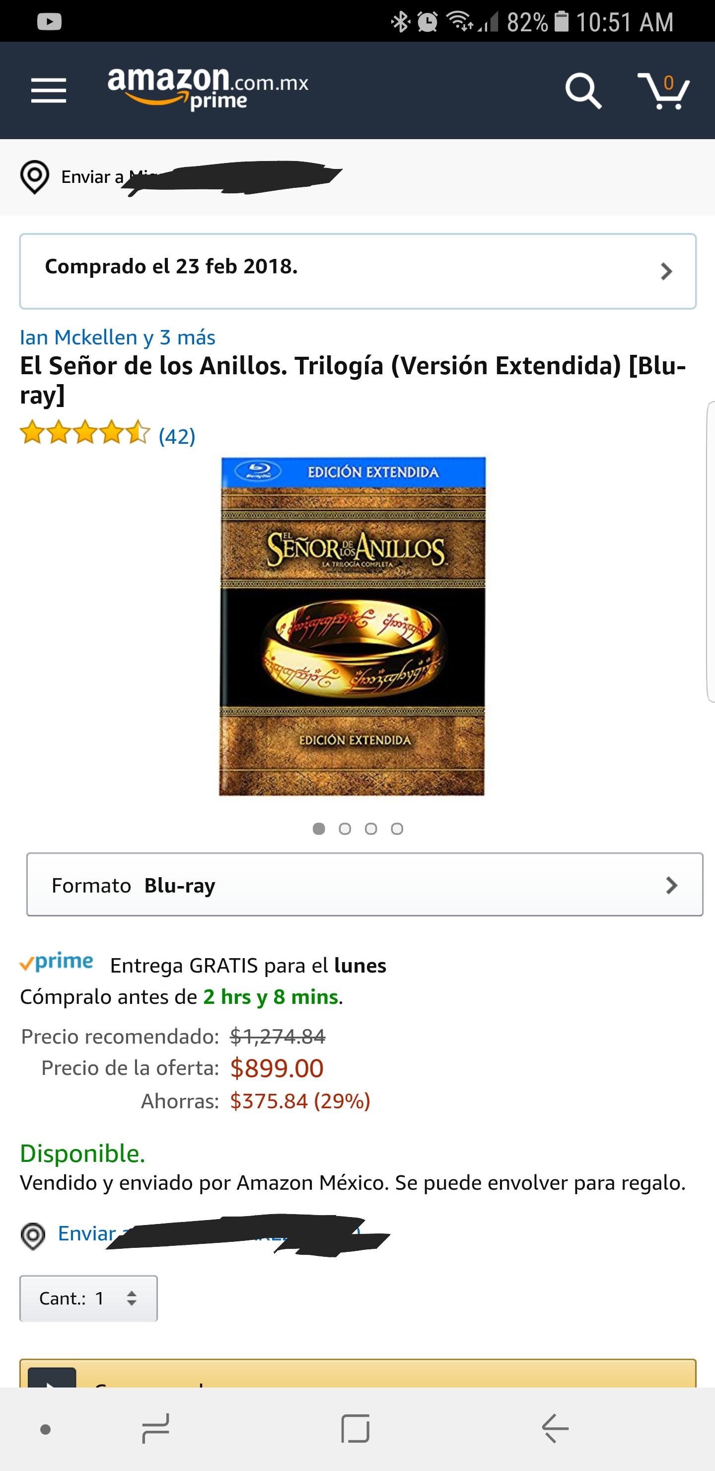 Amazon: El Señor de los Anillos. Trilogía (Versión Extendida) [Blu-ray]