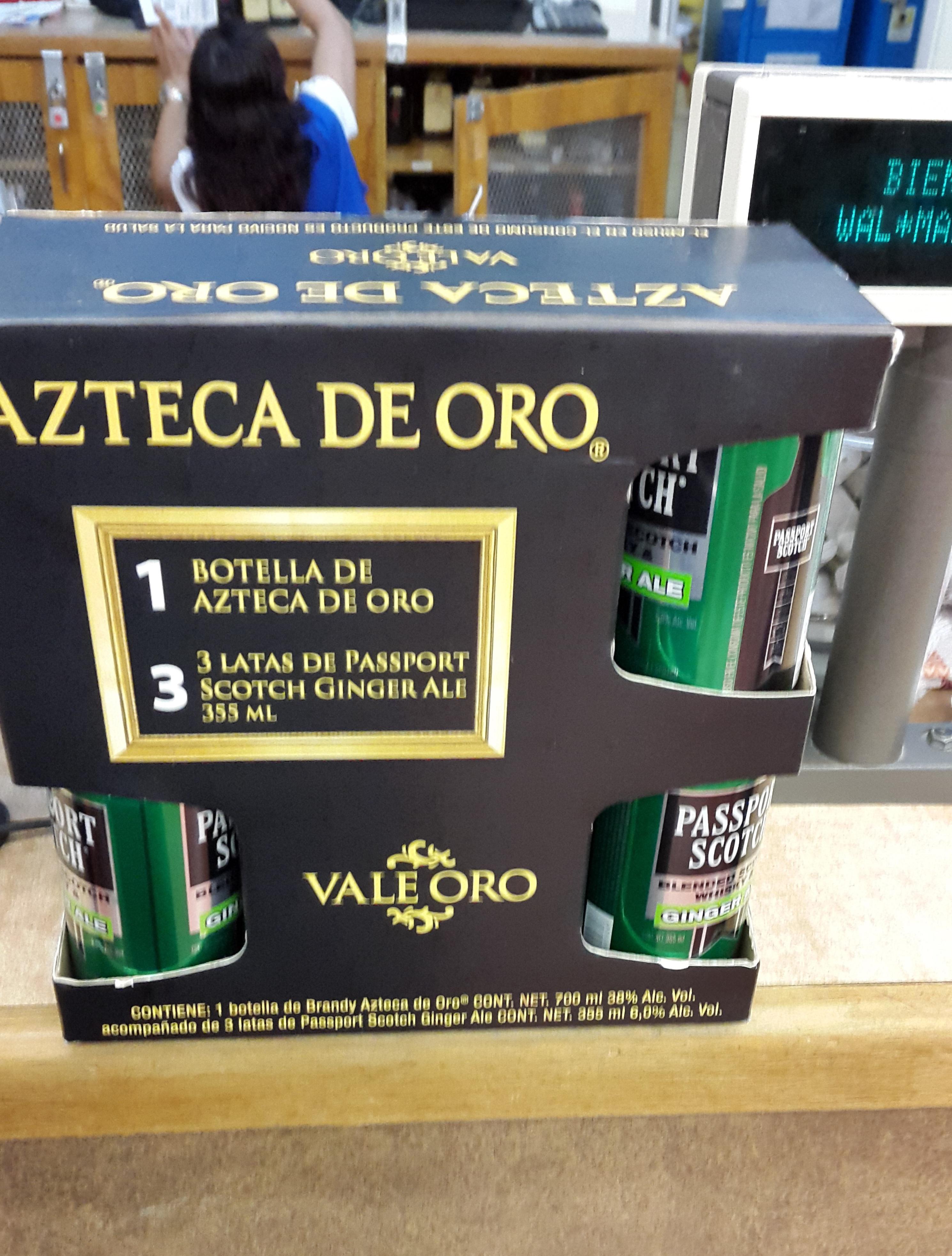 Walmart: Azteca de Oro 700ml + 3 latas de passport ginger $80
