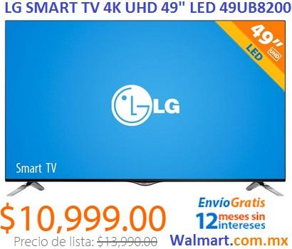 "WALMART: TV LG 49"" 4K UHD SMART TV 120 HZ $10,999 y meses sin intereses"