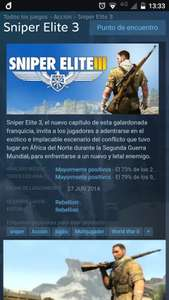 Steam: Sniper Elite 3 -80%