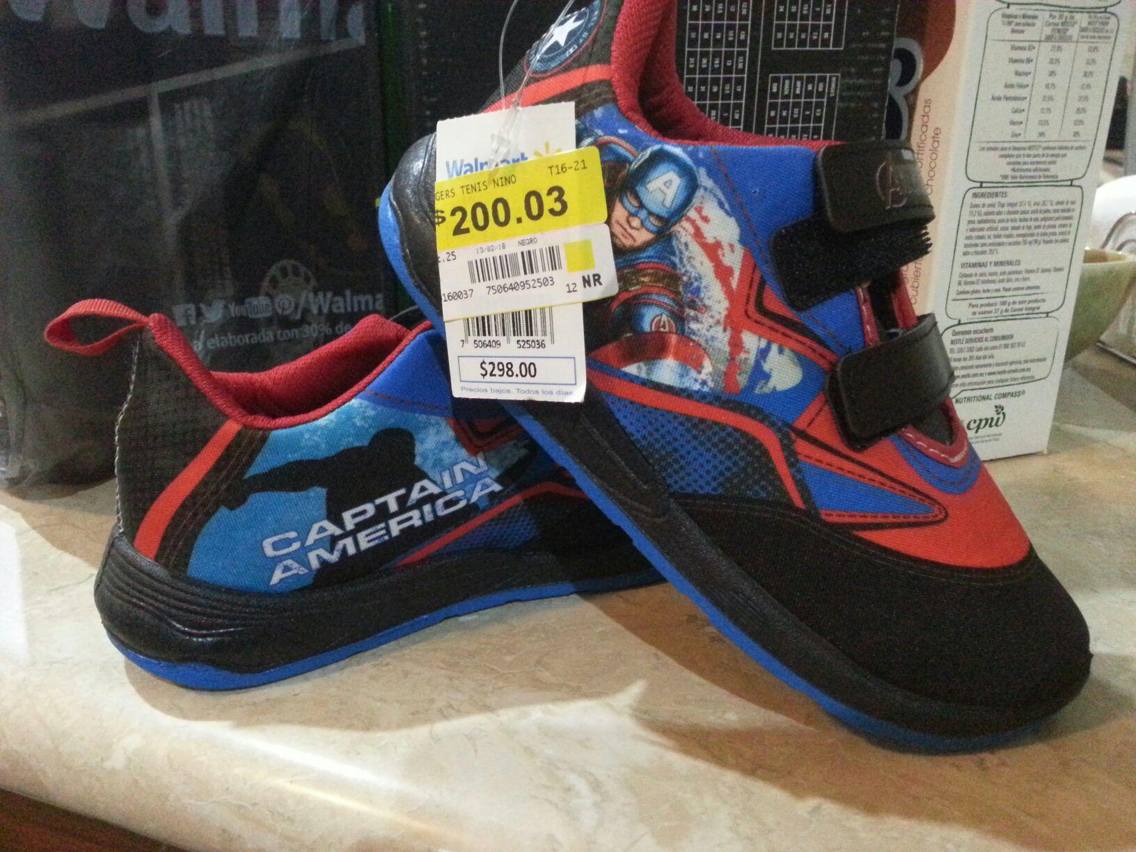 Walmart 3rios Culiacan. Tenis capitán América $ 200.03