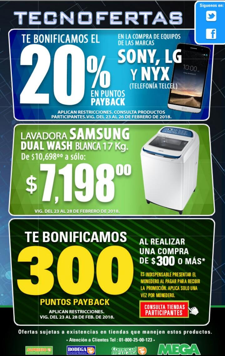 Comercial mexicana y MEGA: Ofertas de fin de semana (20% de bonificación payback en celulares Telcel de marcas seleccionadas y Bonificación de 300 puntos Payback en compra de $300 por toda la tienda)