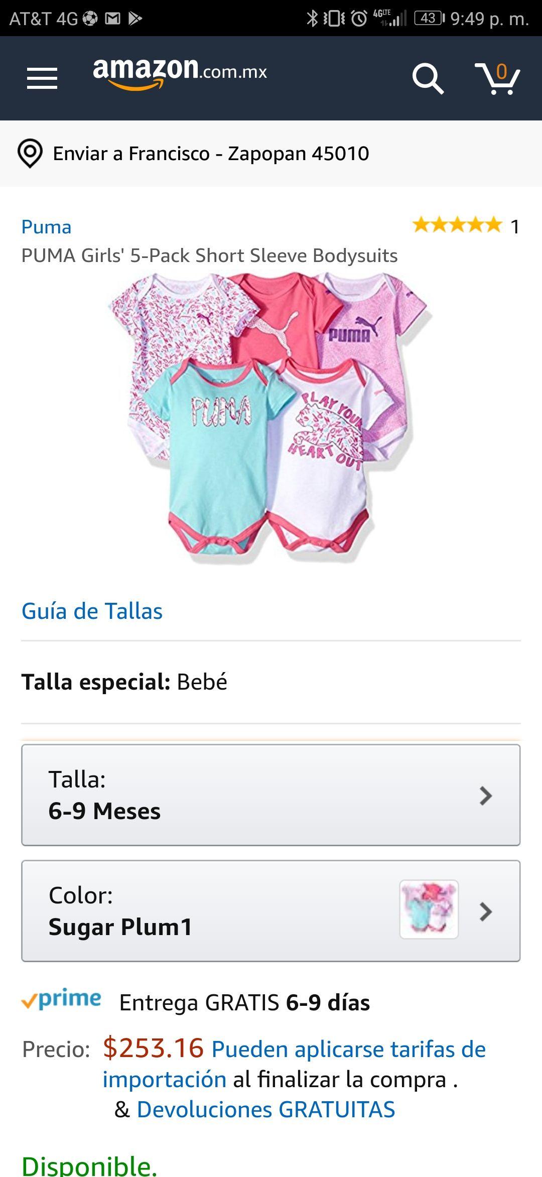 Amazon: Ropita Puma para niña, edad 6-9 meses