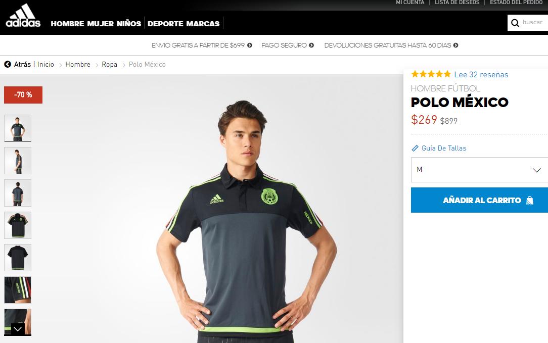 Adidas Online: POLO MÉXICO Verde y Negro con el 70%