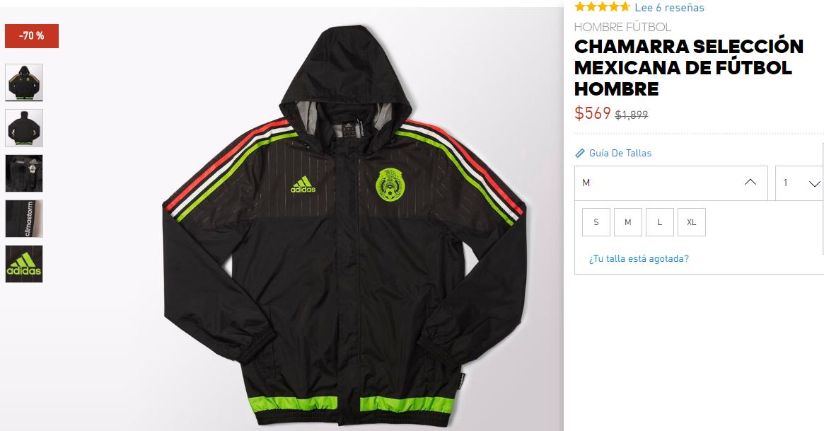 Adidas Online: Selección Mexicana 70% de descuento Chamarra $569 / Rompevientos $449