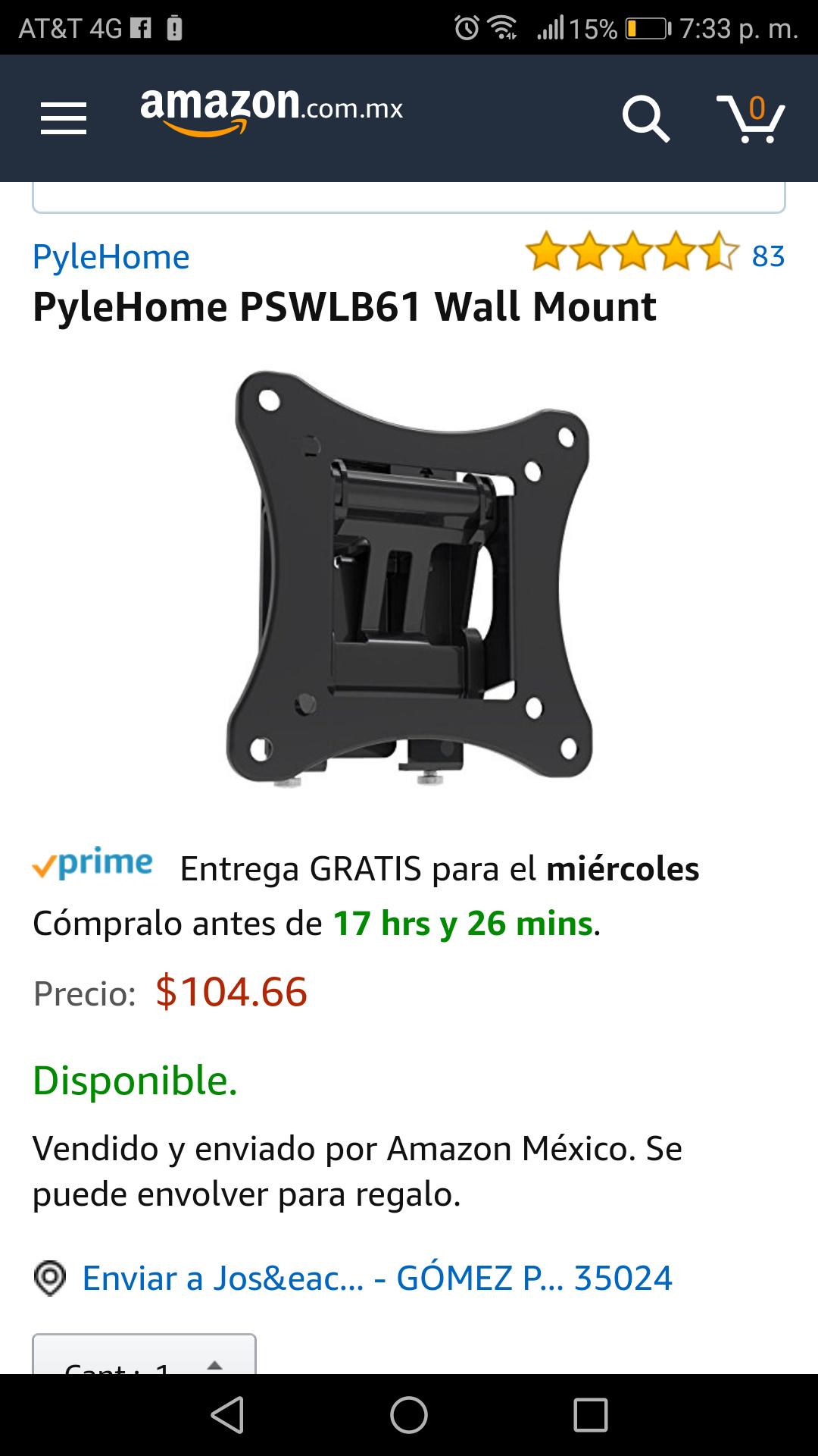 Amazon: Soporte de pared para pantallas pequeñas PyleHome
