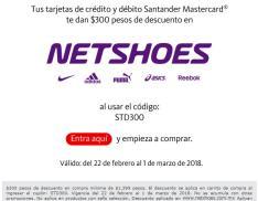 Netshoes: cupon de $300 en compras de $1,399 con Santander Mastercard