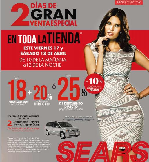 Venta especial Sears 17 y 18 de abril