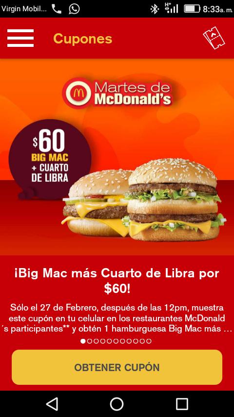 McDonald's: cuarto de libra + big Mac por $60 (CON CUPÓN DE LA APP)