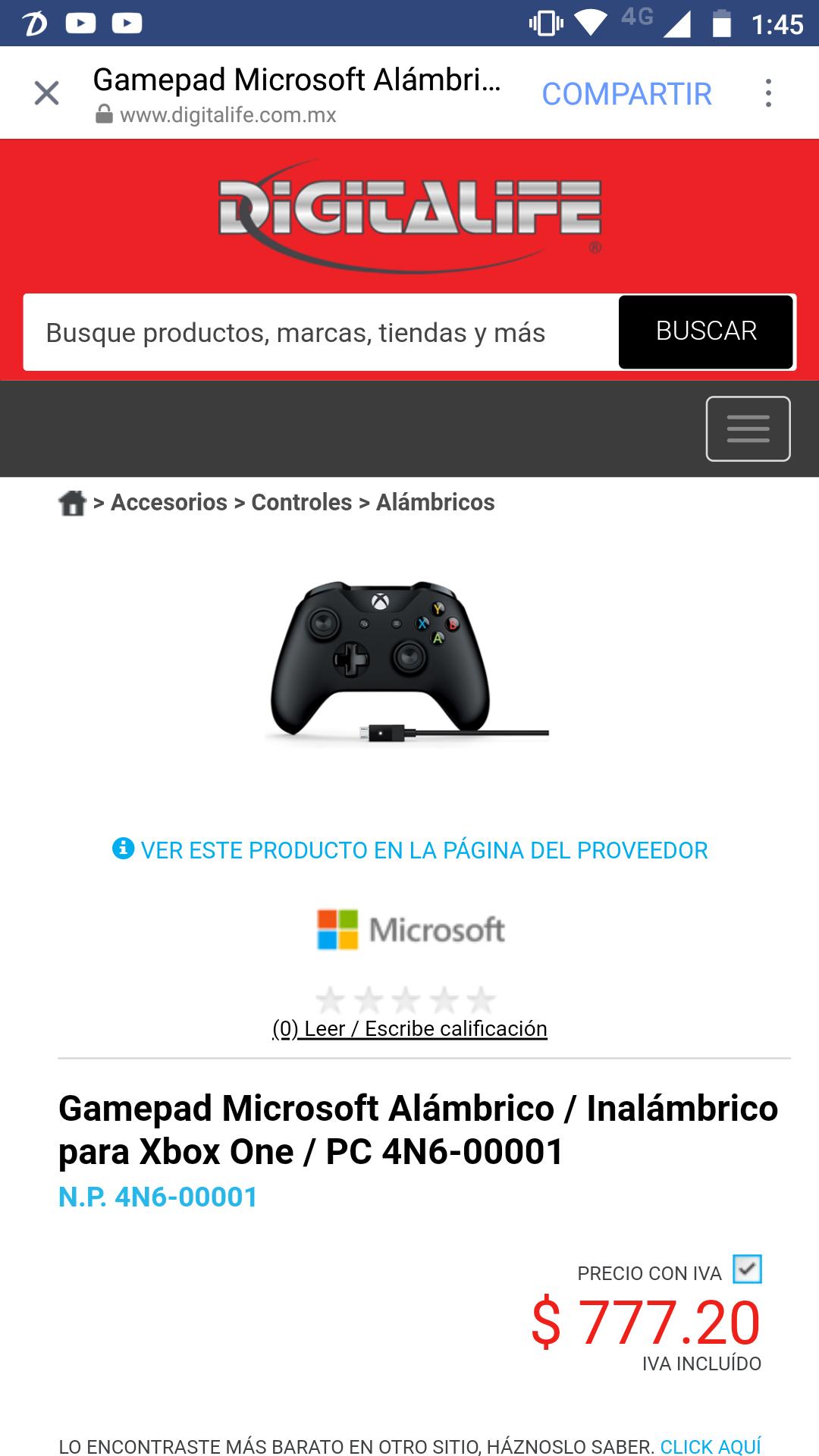 Digitalife: Control Inalambrico de Xbox One Negro con cable USB