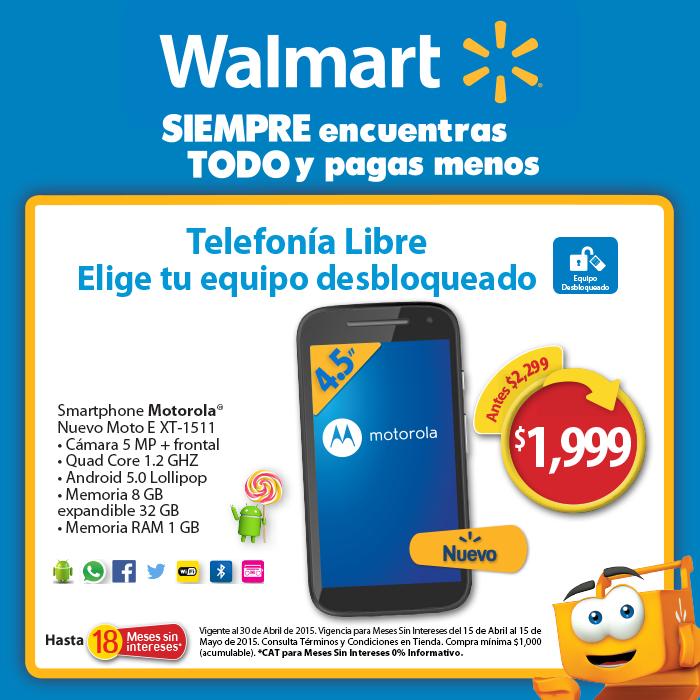 Walmart: Moto E 2da Generación $1999 y 18 meses sin intereses