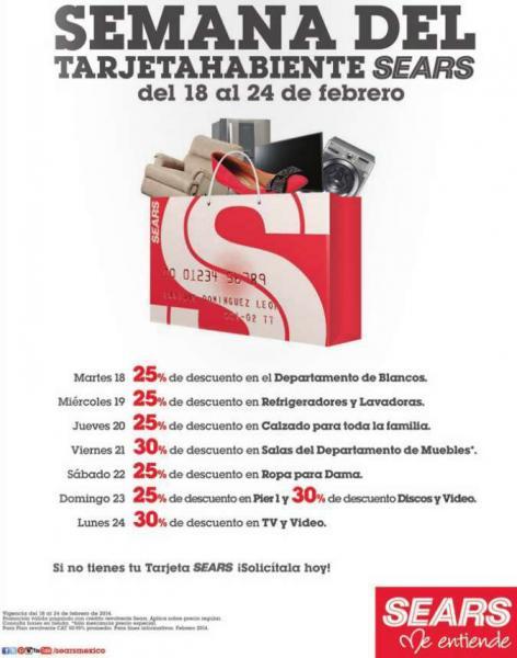 Semana del tarjetahabiente Sears del 18 al 24 de febrero (ofertas diferentes cada día)