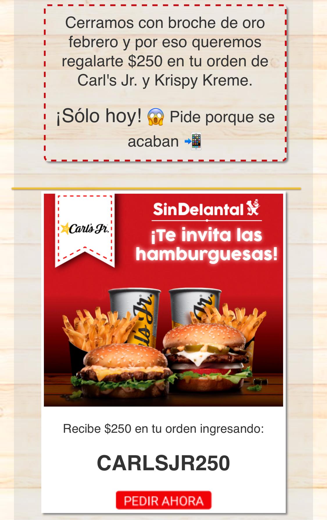 SinDelantal: Cupón $250 de descuento para Carl's Jr. o Krispy Kreme