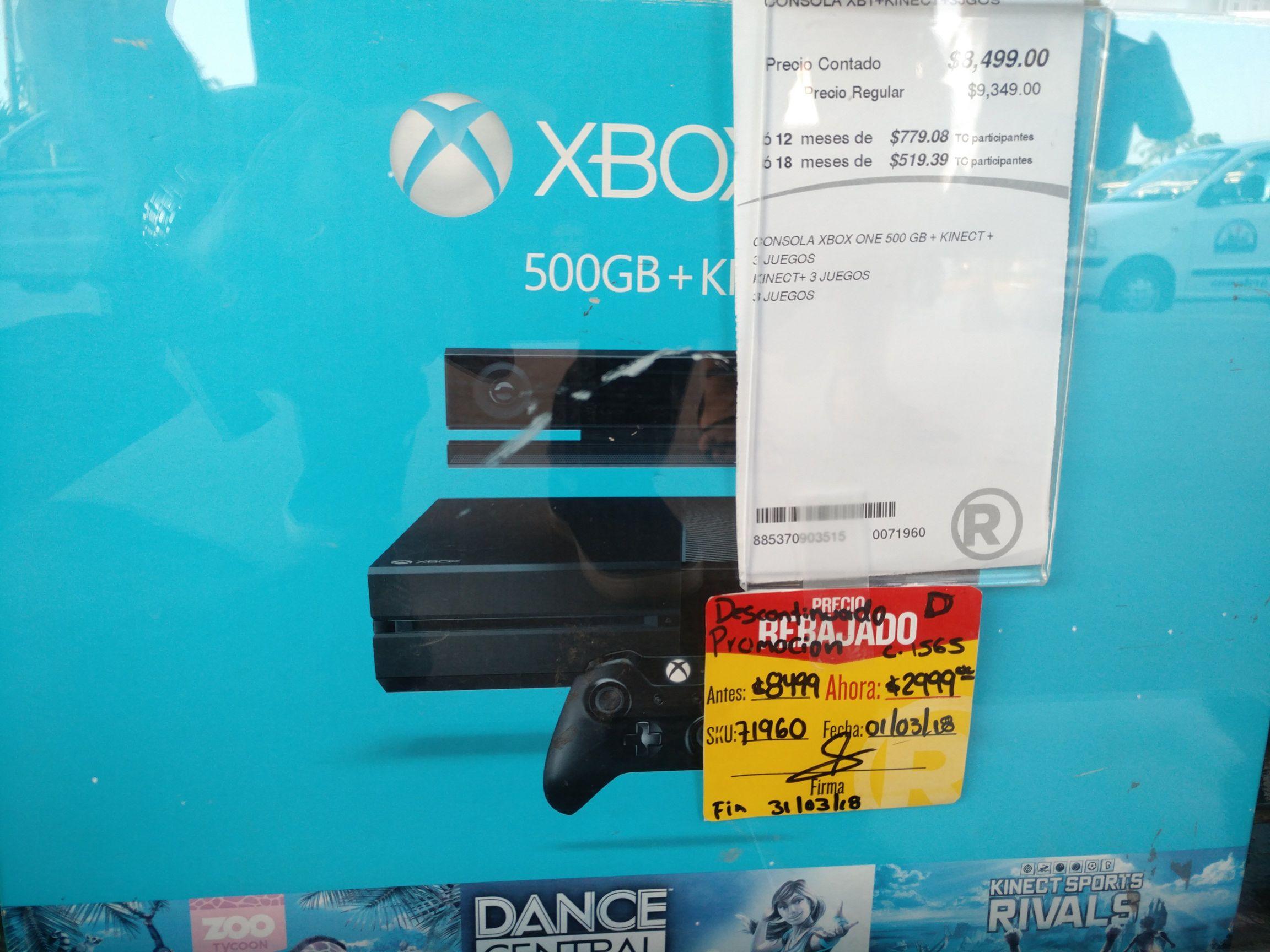 RadioShak: Xbox One Fat + Kinect + 3 Juegos 500Gb