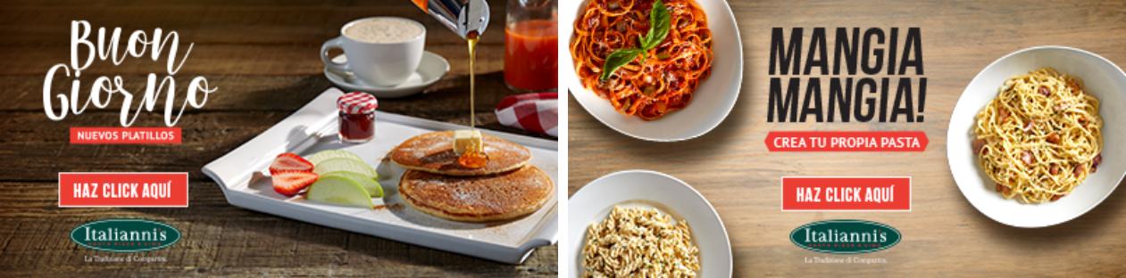 "Italianni´s: Desayunos completos ¡Buon Giorno! $89 y Comidas ""Mangia Mangia"" $119"