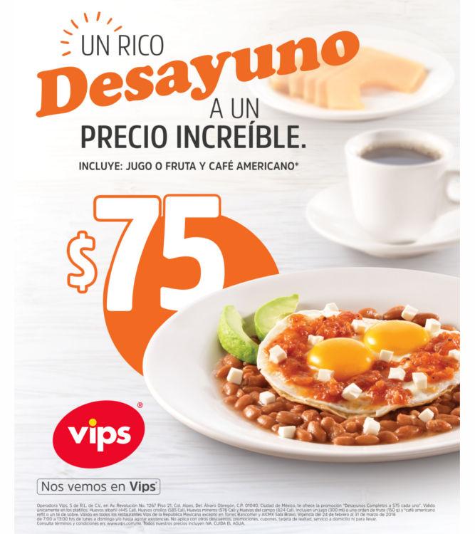 Vips: desayunos a $75