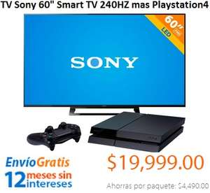 Walmart: Paquete TV Sony KDL-60R510A + Playstation4 $19,999