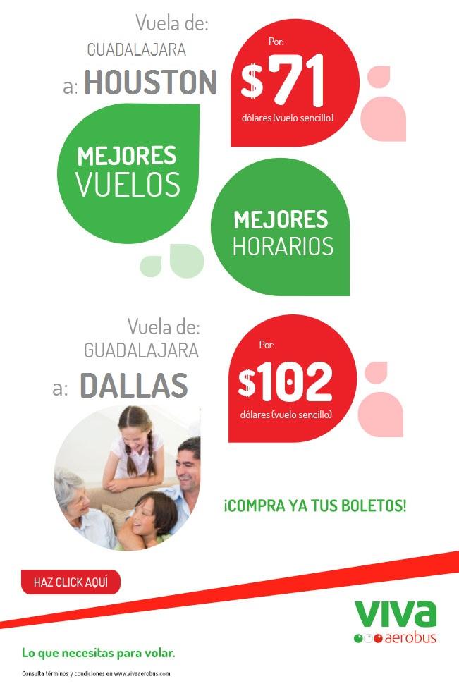 Vivaaerobus: GDL-Houston REDONDO desde $2500 varias fechas