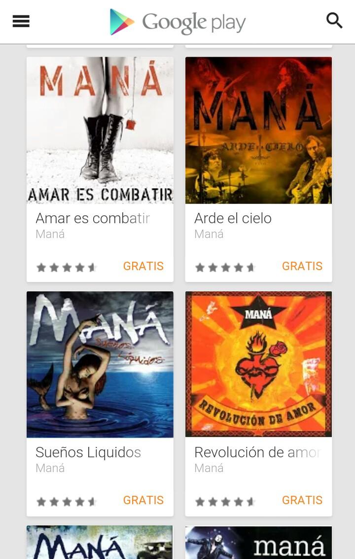 Google Play: Varios álbumes de Maná Gratis!