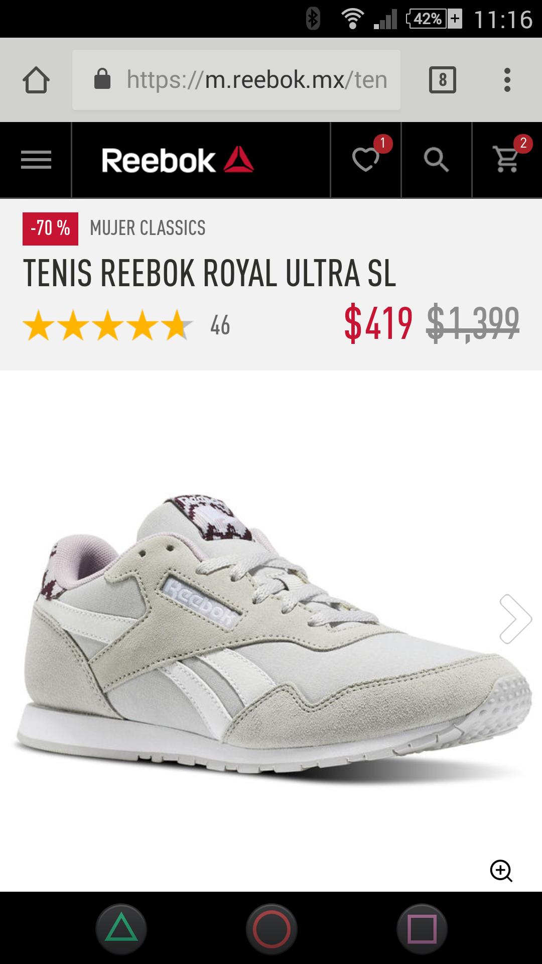 Reebok: Tenis dama con 70% de descuento varias tallas