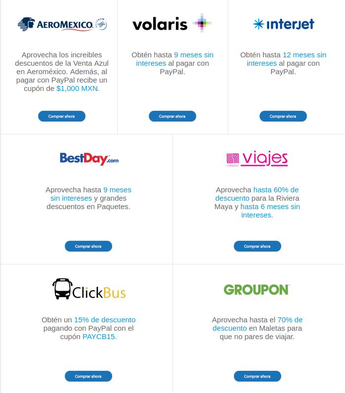PayPal: Ofertas del 6 al 11 de marzo (Aeroméxico, Volaris, Interjet, Best Day, Costco, Cinépolis Klic...)
