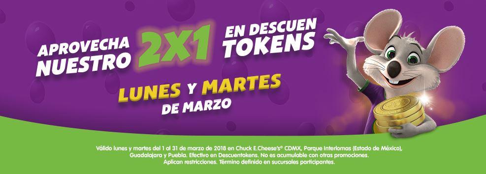 Chuck E Cheese's: 2x1 en Tokens (solo CDMX, Interlomas, Puebla y Gdl)