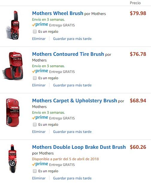 Amazon: Cepillos para autos marca Mothers desde $60