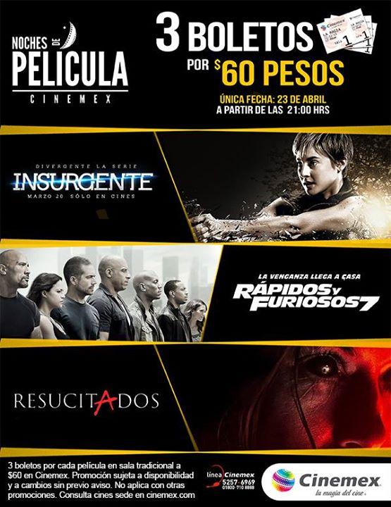 Cinemex: jueves de noches de película ($60 por 3 boletos)
