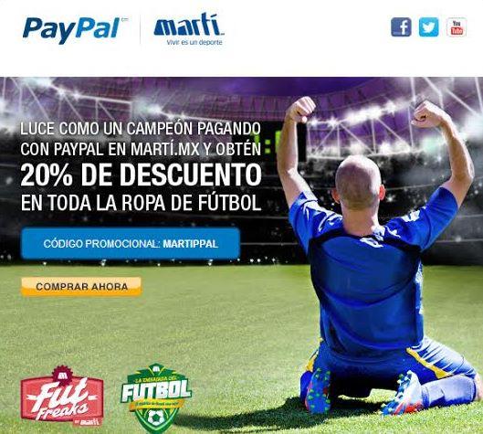 Martí: 20% de descuento en fútbol con PayPal incluye camisa de México para el Mundial