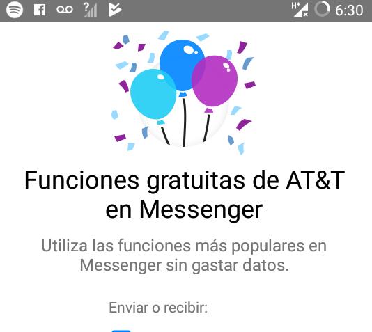 AT&T: Utiliza Facebook Messenger sin gastar saldo