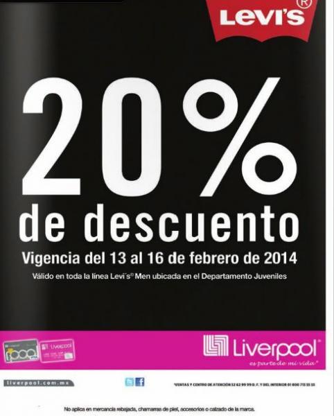 Liverpool: 20% de descuento en marca Levi's y Dockers Men