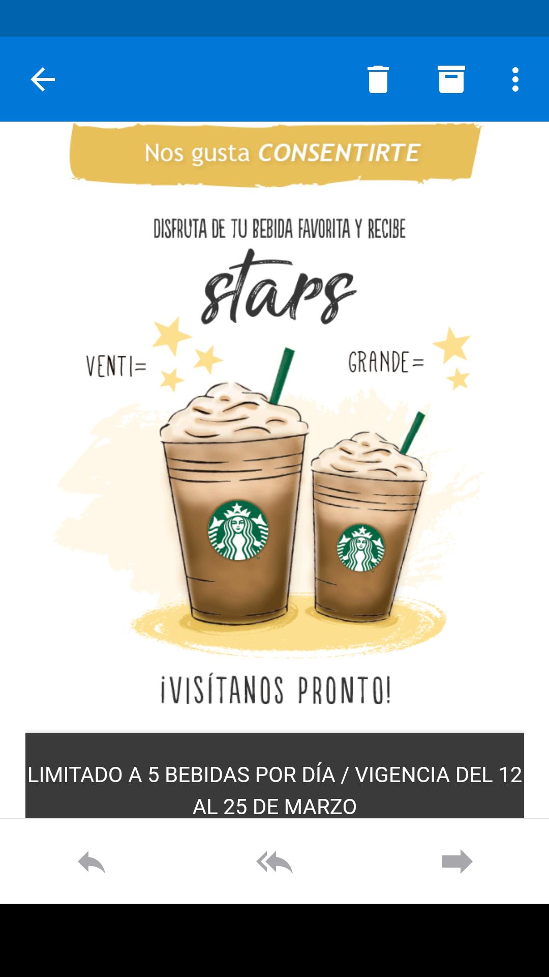 Starbucks: 3 Stars adicionales por cada bebida venti y 2 adicionales por grande