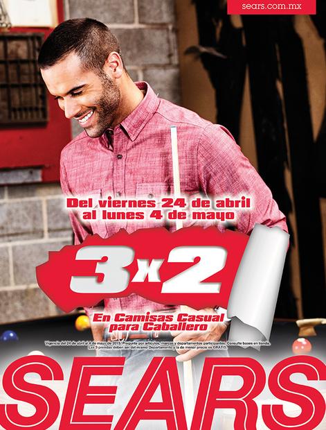 Sears: 3x2 en camisas casuales para hombre y en maternidad