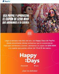 PayPal: cupón de $200 MXN *Compra mínima de $600 MNX Usuarios Seleccionados
