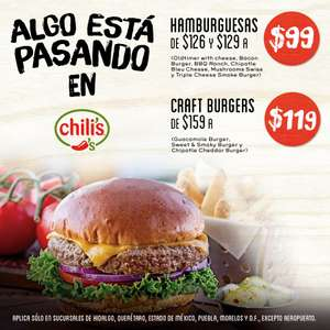Chili's: hamburguesas a $99
