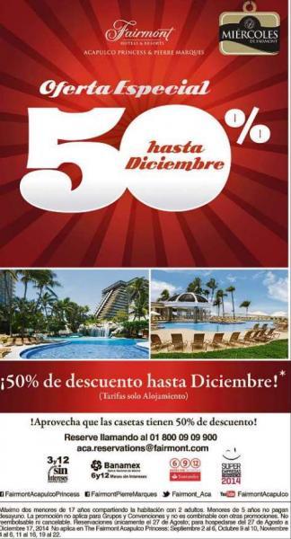 50% de descuento en hoteles Fairmont Acapulco Princess y Pierre Marques