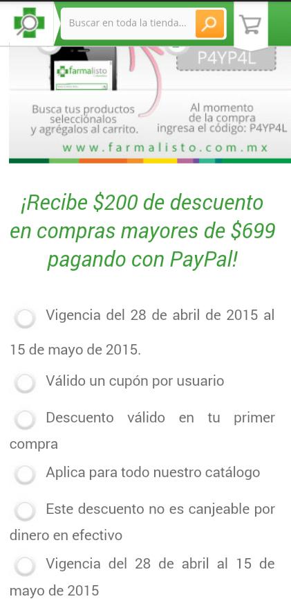 Cupones paypal:$200 de descto en farmalisto,$100 de descto disney store,$100 de monedero paypal superama