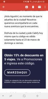 Cabify: 15% de descuento en 5 Viajes