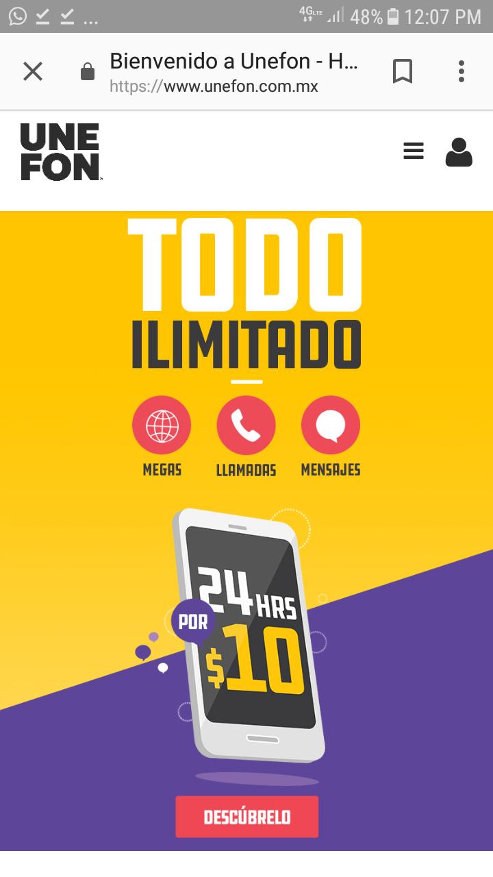 Unefon: ilimitado x $10 al día