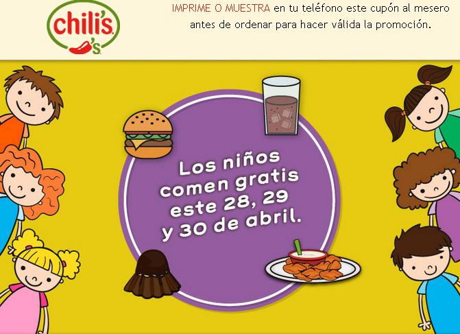Chili's: niños comen gratis al comprar platillo de adulto